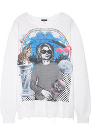R13 Kurt distressed printed cotton-terry sweatshirt