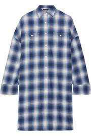 R13 Oversized checked cotton-flannel mini dress