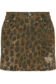 R13 Distressed leopard-print denim mini skirt