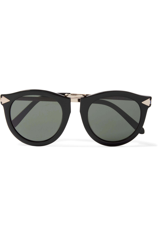 Karen Walker Harvest round-frame acetate and silver-tone sunglasses