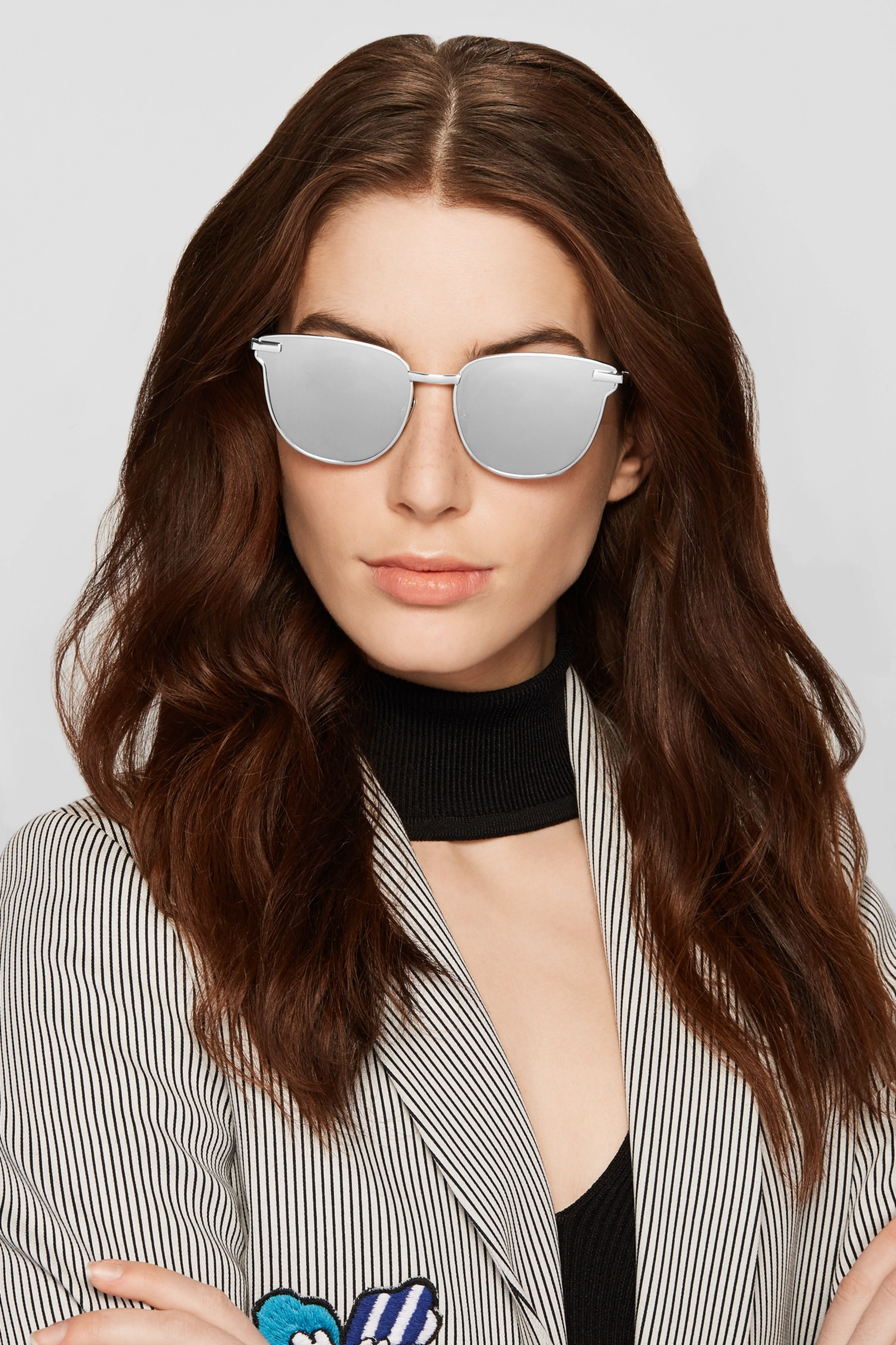 Le Specs Pharaoh cat-eye silver-plated mirrored sunglasses