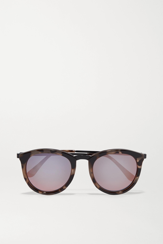 Le Specs No Smirking verspiegelte Sonnenbrille mit rundem Rahmen aus Azetat
