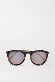 No Smirking round-frame acetate mirrored sunglases