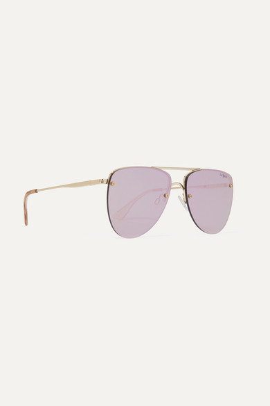 The Prince Aviator-style Gold-tone Mirrored Sunglasses - One size Le Specs u1vDE2cg1e