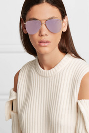 Le Specs The Prince aviator-style gold-tone mirrored sunglasses