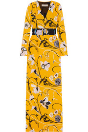 Emilio Pucci Belted floral-print crepe gown