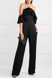 Emilio Pucci Cold-shoulder embellished ruffled satin jumpsuit