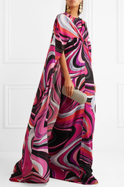 Cape-effect printed silk gown