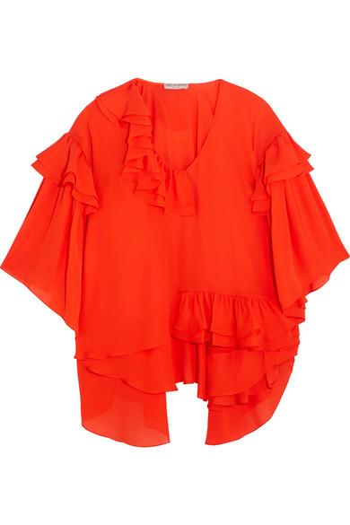 Emilio Pucci - Ruffled Silk-chiffon Blouse - Red