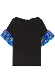 Emilio Pucci Silk twill-trimmed wool top