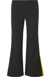 Emilio Pucci Cropped striped silk-trimmed wool-blend flared pants