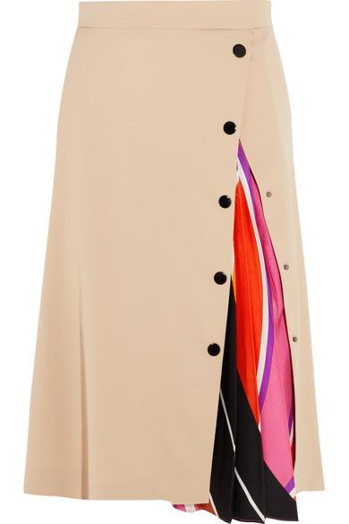 Emilio Pucci - Twill-paneled Silk-blend Midi Skirt - Beige