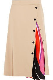 Twill-paneled silk-blend midi skirt