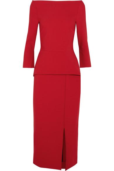 Roland Mouret - Ardingly Crepe Peplum Dress - Red