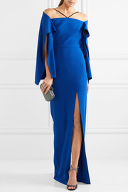 Cheveley cold-shoulder crepe gown