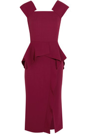 Sawleigh wool-crepe peplum dress