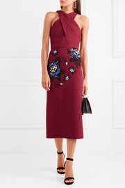 Roland Mouret Maxton embroidered stretch-crepe midi dress