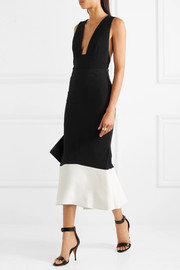 Roland Mouret Firsoff two-tone crepe midi skirt