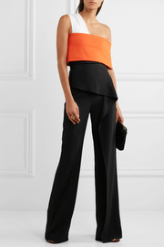 Roland Mouret Coveney layered cady wide-leg pants