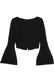 Roland Mouret Liverton macramé lace-trimmed wool-crepe top