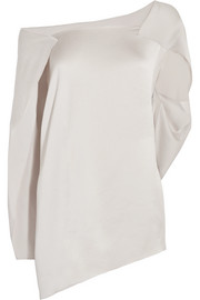 Roland Mouret Heartwell one-shoulder draped hammered-satin top