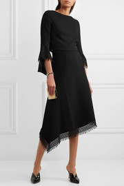 Tarring macramé lace-trimmed asymmetric wool-crepe skirt
