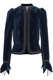 Grosgrain-trimmed ruffled cotton-velvet jacket