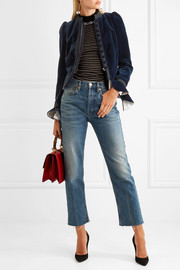 Sonia Rykiel Grosgrain-trimmed ruffled cotton-velvet jacket