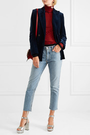 Sonia Rykiel Faux leather-trimmed double-breasted cotton-velvet blazer