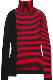 Striped silk and cotton-blend turtleneck sweater