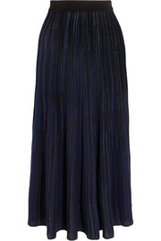 Plissé stretch-knit midi skirt