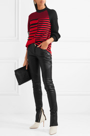 Paneled striped wool sweater