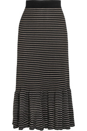Metallic striped cotton-blend midi skirt