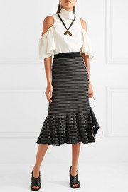 Sonia Rykiel Metallic striped cotton-blend midi skirt