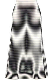 Striped cotton-blend midi skirt