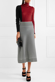 Sonia Rykiel Striped cotton-blend midi skirt