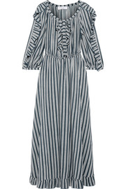 Ruffle-trimmed striped crepe midi dress