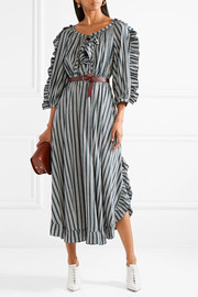 Sonia Rykiel Ruffle-trimmed striped crepe midi dress