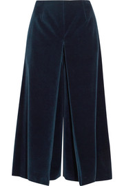 Pleated cotton-velvet culottes