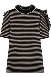 Sonia Rykiel Cutout ruffled striped metallic cotton-blend top