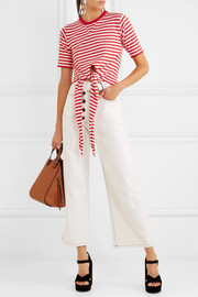Sonia Rykiel Tie-front striped stretch-cotton jersey top