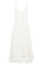 Victoria Beckham Asymmetric striped silk crepe de chine midi dress