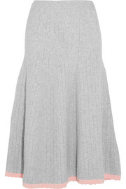 Ribbed wool-blend midi skirt