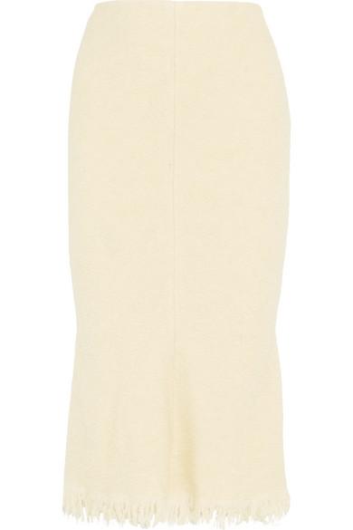 Victoria Beckham - Fluted Wool-blend Bouclé Midi Skirt - Ivory