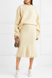 Victoria Beckham Fluted wool-blend bouclé midi skirt