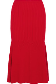 Victoria Beckham Ribbed wool-blend midi skirt