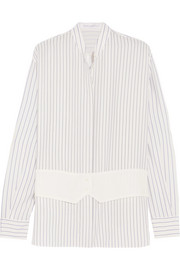Victoria Beckham Crepe-paneled striped silk crepe de chine shirt