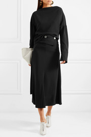 Victoria Beckham Button-detailed crepe midi skirt
