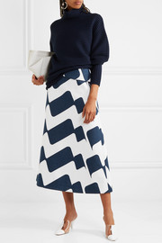Victoria Beckham Printed cotton-blend midi skirt