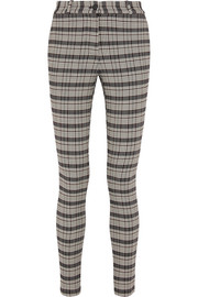 Checked woven skinny pants